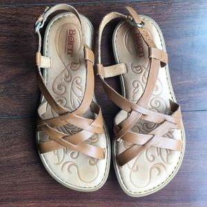 Born tan leather sandals size 6